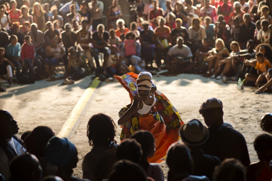 Anais Cheleux dancing to gwoka drummers at a Lewoz at the Gwoka Festival. photo William Farring ton